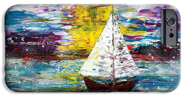 Sailboat Ocean Mixed Media iPhone Cases - Secret Escape iPhone Case by Laura Barbosa