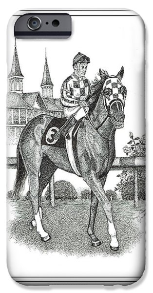 Horse Racing Drawings iPhone Cases - Secretariat iPhone Case by Tanya Crum
