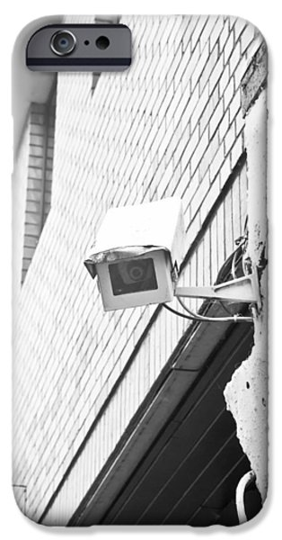 Police iPhone Cases - Security camera iPhone Case by Tom Gowanlock