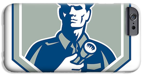 Police iPhone Cases - Security Guard Flashlight Shield Retro iPhone Case by Aloysius Patrimonio