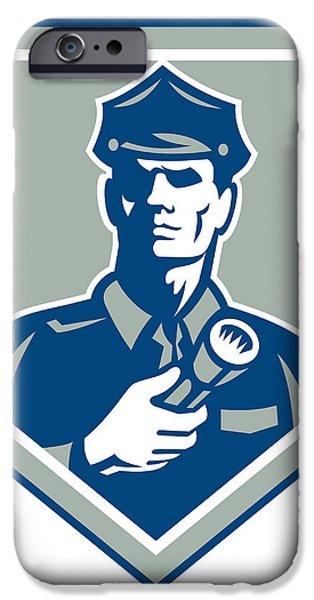 Security Guard Flashlight Shield Retro iPhone Case by Aloysius Patrimonio