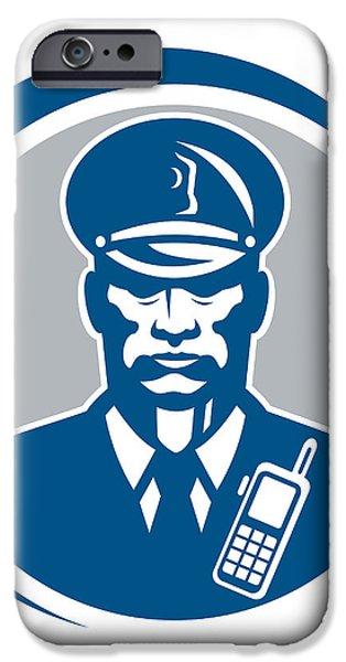 Security Guard Police Officer Radio Circle iPhone Case by Aloysius Patrimonio
