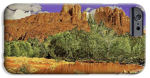 Oak Creek Digital Art iPhone Cases - Sedona Arizona Cathedral Rocks Oak Creek Crossing iPhone Case by  Bob and Nadine Johnston
