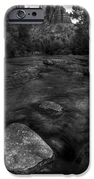 West Fork Photographs iPhone Cases - Sedona Cathedral Rock Black and White iPhone Case by Dave Dilli