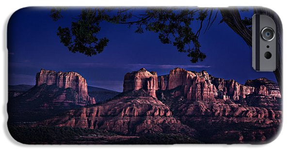 Sedona iPhone Cases - Sedona Cathedral Rock Post Sunset Glow iPhone Case by Mary Jo Allen