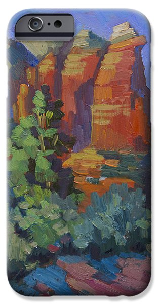 Sedona Paintings iPhone Cases - Sedona Coffee Pot Rock iPhone Case by Diane McClary