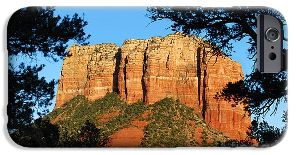 Oak Creek Digital iPhone Cases - Sedona Courthouse Butte  iPhone Case by Eva Kaufman