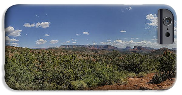 Cathedral Rock iPhone Cases - Sedona Panorama in 5 Pictures iPhone Case by Angela A Stanton