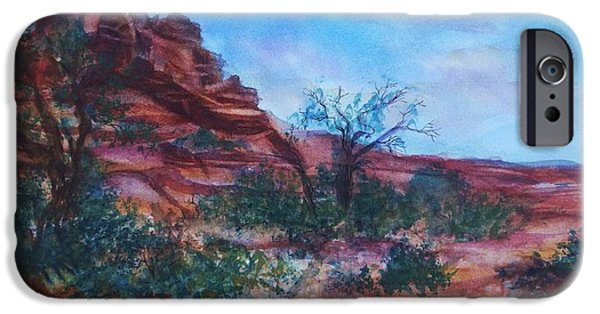 Sedona iPhone Cases - Sedona Red Rocks - Impression of Bell Rock iPhone Case by Ellen Levinson