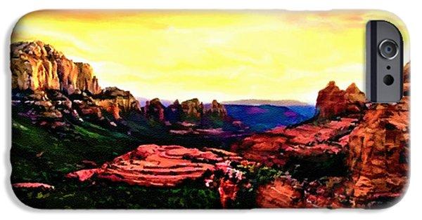 Oak Creek iPhone Cases - Sedona Red Rocks Sunset Painting iPhone Case by  Bob Johnston