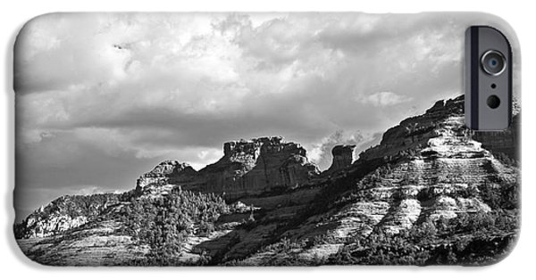 Oak Creek iPhone Cases - Sedona Spring Welcome in Black and White iPhone Case by Lee Craig