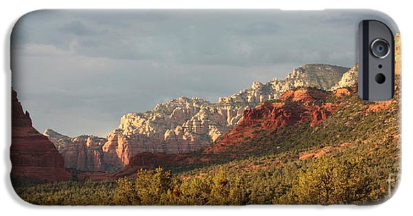 Sedona iPhone Cases - Sedona Sunshine Panorama iPhone Case by Carol Groenen