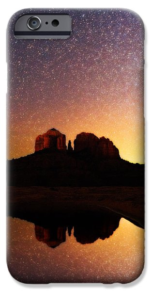 Cathedral Rock iPhone Cases - Sedona Twilight  iPhone Case by Adam  Schallau
