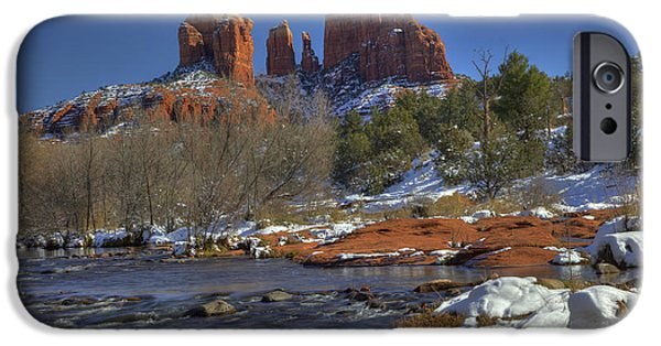 West Fork iPhone Cases - Sedona Winter iPhone Case by Sue Cullumber