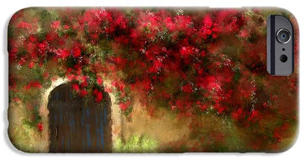 Buildings Mixed Media iPhone Cases - The Bougainvilleas of Sedona iPhone Case by Colleen Taylor