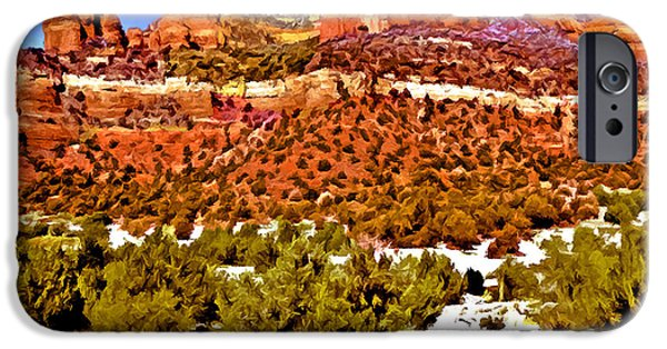 Grand Canyon Mixed Media iPhone Cases - Sedonas Secret Wilderness iPhone Case by  Bob and Nadine Johnston