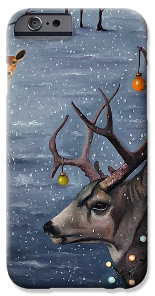 Winter Storm Paintings iPhone Cases - Seduction iPhone Case by Leah Saulnier The Painting Maniac