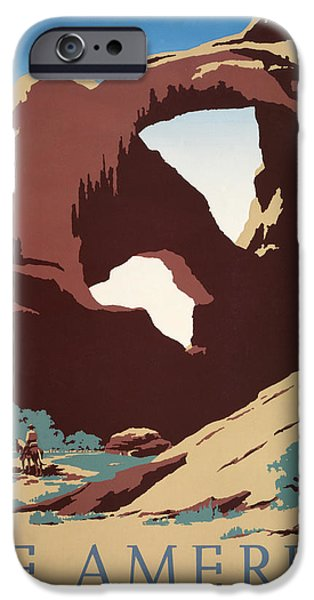 Desert Digital Art iPhone Cases - See America - Cowboys iPhone Case by Nomad Art And  Design
