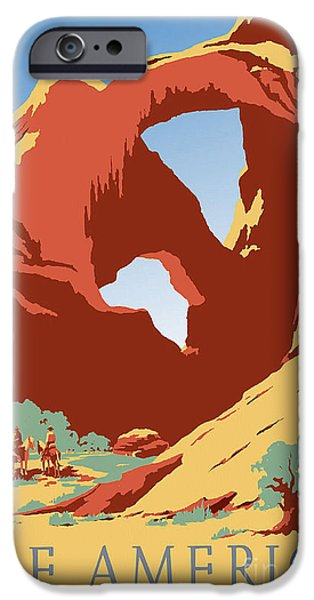 Colorado Drawings iPhone Cases - See America Vintage Travel Poster iPhone Case by Jon Neidert