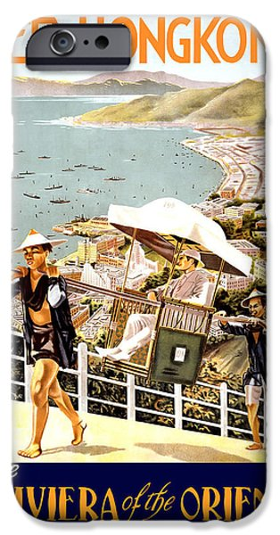 Hong Kong Paintings iPhone Cases - See Hong Kong Travel Poster iPhone Case by Unknown