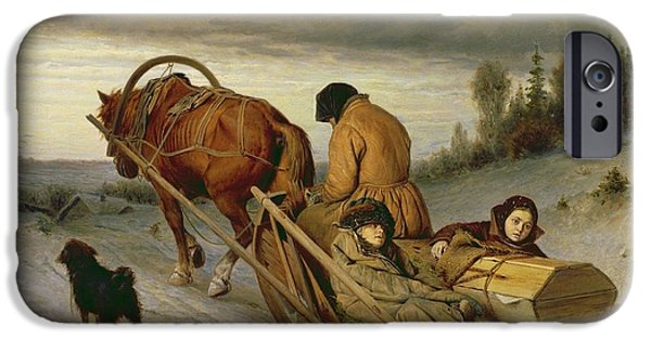 Snow iPhone Cases - Seeing Off The Dead, 1865 Oil On Canvas iPhone Case by Vasili Grigorevich Perov
