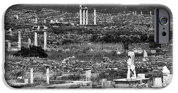 Delos iPhone Cases - Seeing Ruins on Delos Island iPhone Case by John Rizzuto