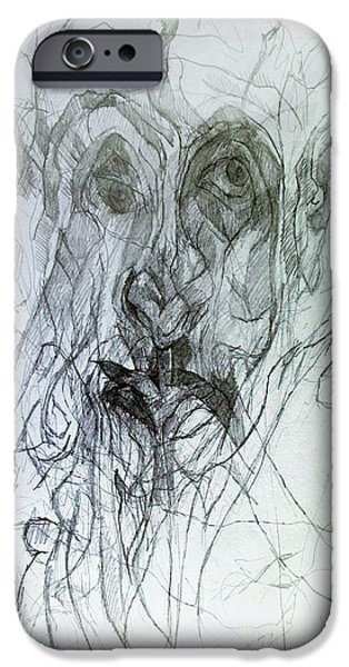 Inner Self Drawings iPhone Cases - Seeker being Sought iPhone Case by David Baruch Wolk