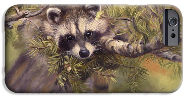 Raccoon iPhone Cases - Seeking Mischief iPhone Case by Lucie Bilodeau