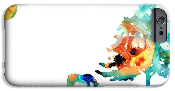 Horse Racing iPhone Cases - Seeking Shelter - Colorful Horse Art Painting iPhone Case by Sharon Cummings