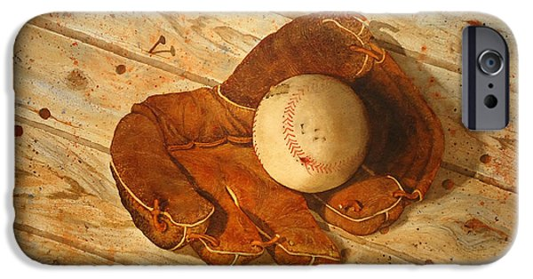 Baseball Glove Paintings iPhone Cases - Seen Better Days iPhone Case by Sandra Stone