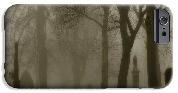 Graveyard Road iPhone Cases - Seeped In Fog iPhone Case by Gothicolors Donna Snyder