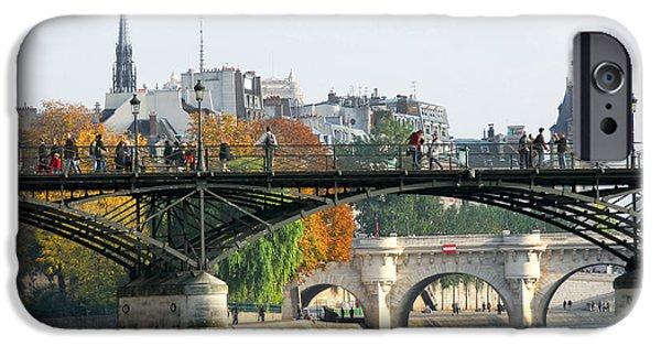 River iPhone Cases - Seine bridges in Paris iPhone Case by Elena Elisseeva