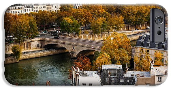 Notre Dame Cathedral iPhone Cases - Seine River And City Viewed iPhone Case by Panoramic Images