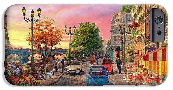 Paris Digital Art iPhone Cases - Seine Sunset iPhone Case by Dominic Davison