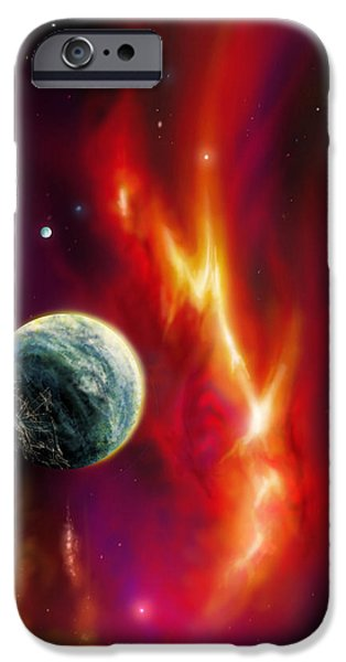Star System Paintings iPhone Cases - Solarian iPhone Case by James Christopher Hill