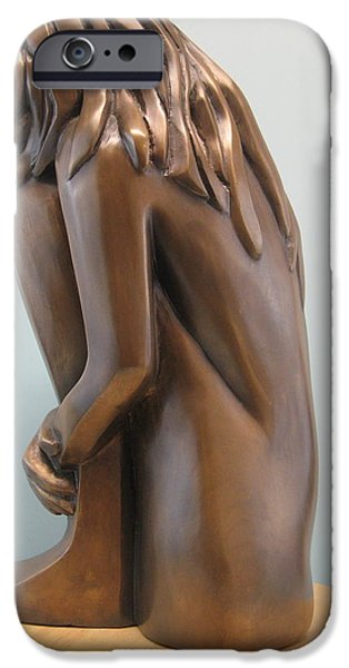Original Sculptures iPhone Cases - Self comfort iPhone Case by Nili Tochner