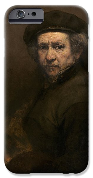 Self Portrait Photographs iPhone Cases - Self-portrait, 1659 Oil On Canvas iPhone Case by Rembrandt Harmensz. van Rijn