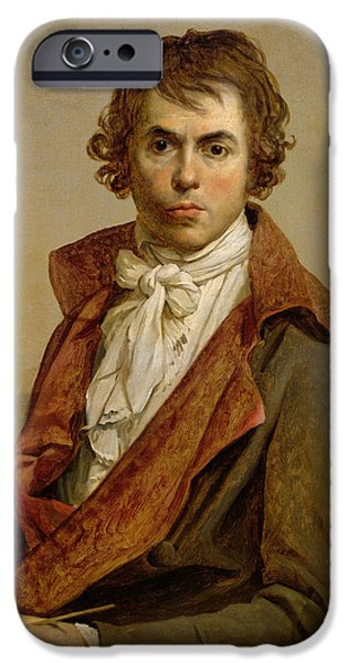 Neo iPhone Cases - Self Portrait, 1794 Oil On Canvas iPhone Case by Jacques Louis David
