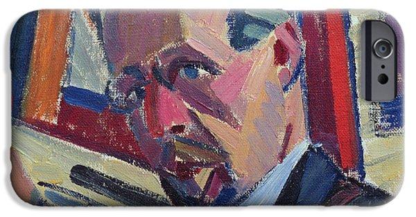 Constructivist iPhone Cases - Self Portrait, 1913 Oil On Canvas iPhone Case by Alexander Bogomazov