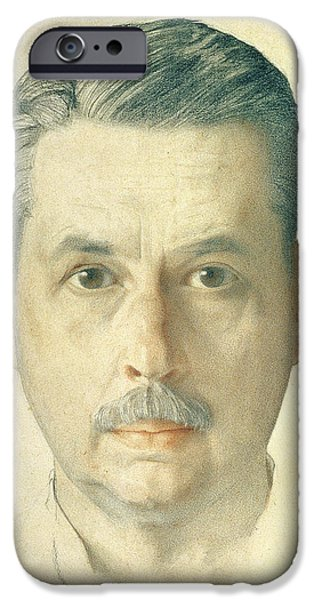 Artist Photographs iPhone Cases - Self Portrait, 1921 Pencil On Paper iPhone Case by Konstantin Andreevic Somov