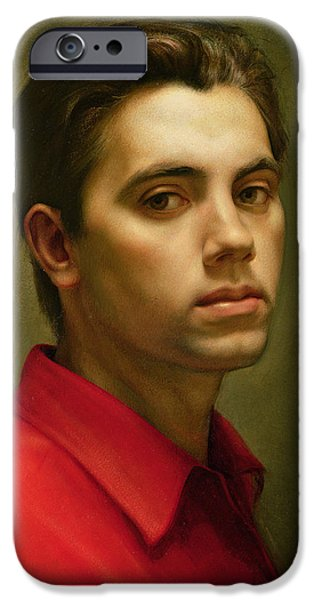 Young Man Photographs iPhone Cases - Self Portrait, 1959 Oil On Tempera iPhone Case by Antonio Ciccone
