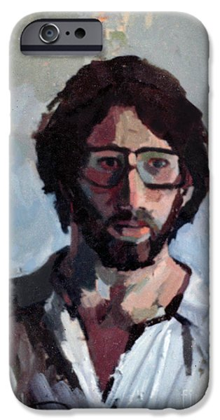 Inner Self Paintings iPhone Cases - Self Portrait 1982 iPhone Case by David Baruch Wolk