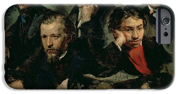 Painter Photographs iPhone Cases - Self Portrait And Portraits Of Friends, 1864 Oil On Canvas iPhone Case by Vasily Maximov
