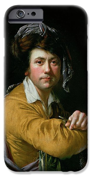 Costume iPhone Cases - Self Portrait At The Age Of About Forty, C.1772-3 iPhone Case by Joseph Wright of Derby
