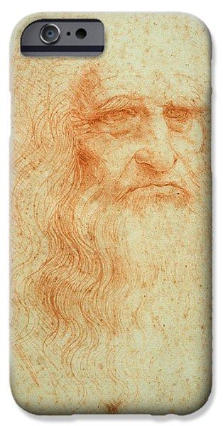 Painter Photographs iPhone Cases - Self Portrait, C.1512 Red Chalk On Paper iPhone Case by Leonardo da Vinci