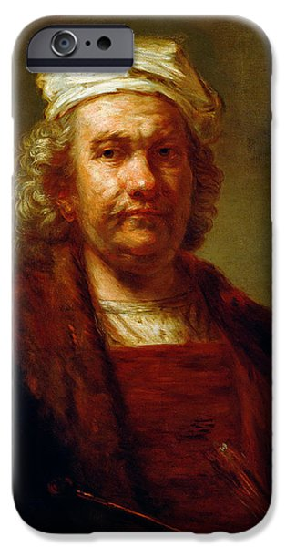 Painter Photographs iPhone Cases - Self Portrait, C.1660-63 Oil On Canvas iPhone Case by Rembrandt Harmensz. van Rijn