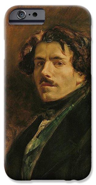 Painter Photographs iPhone Cases - Self Portrait, C.1837 Oil On Canvas iPhone Case by Ferdinand Victor Eugene Delacroix