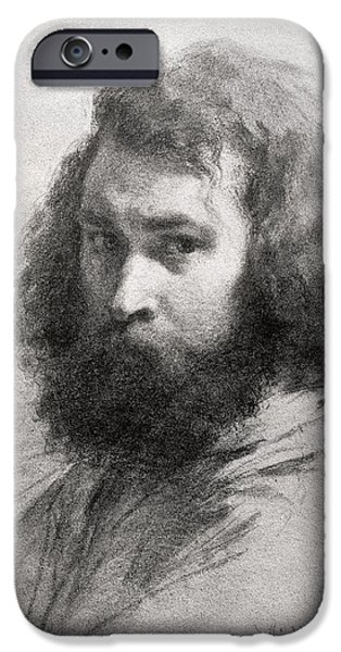 Artist Photographs iPhone Cases - Self Portrait, C.1845-46 Charcoal And Pencil On Paper Bw Photo iPhone Case by Jean-Francois Millet
