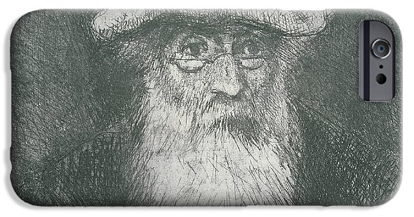 Black Portrait Drawings iPhone Cases - Self Portrait  iPhone Case by Camille Pissarro