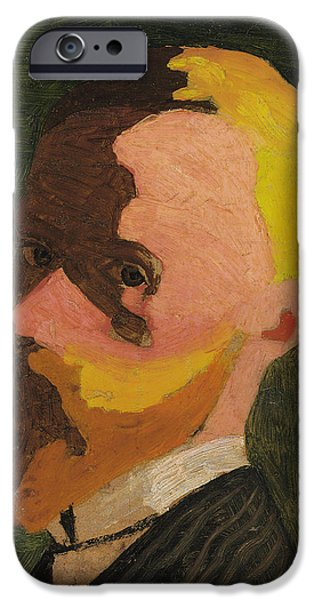 ist Self Portrait Paintings iPhone Cases - Self Portrait iPhone Case by Edouard Vuillard